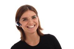 Foto común de una mujer joven con el receptor de cabeza fotografía de archivo libre de regalías
