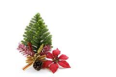 Foto común: Tarjeta de Navidad con el abeto y decoración en brillo Fotos de archivo