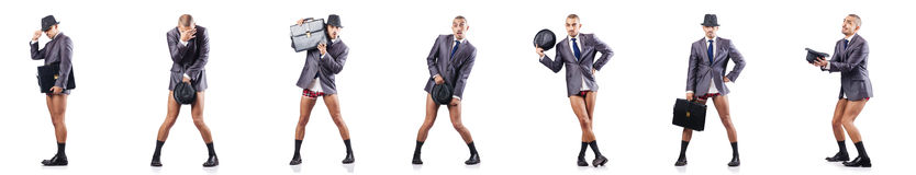 A foto composta do homem de negócios despido no branco Fotos de Stock