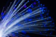 Foto conceptual abstrata das linhas da fibra que incandescem com luz azul Fundo preto imagem de stock