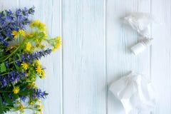 Foto conceptual con los wildflowers, los descensos de nariz y los mantones alergia Descensos de la alergia Alergia estacional par fotografía de archivo