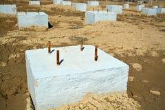 Foto concreta di area della costruzione del fondamento Immagini Stock Libere da Diritti