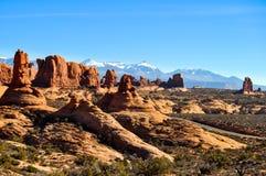 Foto conservada em estoque da formação de rocha vermelha, parque nacional dos arcos Imagens de Stock