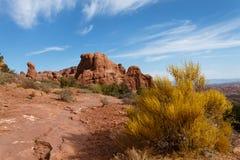 Foto conservada em estoque da formação de rocha vermelha, parque nacional dos arcos fotografia de stock royalty free