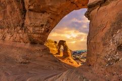 Foto conservada em estoque da formação de rocha vermelha, parque nacional dos arcos Fotos de Stock Royalty Free