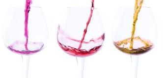 Foto conservada em estoque de três vidros de vinho Imagem de Stock