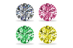 Foto conservada em estoque - diamantes, isolados no branco Foto de Stock Royalty Free