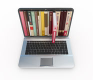 Foto conservada em estoque dos e-livros no laptop Imagem de Stock Royalty Free