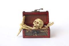 Foto conservada em estoque: Esqueleto humano na caixa de madeira, ainda vida no CCB branco Fotos de Stock Royalty Free