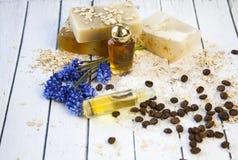 Foto cosmética orgánica Cosméticos y crema de la hierba de los componentes han fotos de archivo libres de regalías