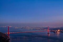 Foto crepuscolare di panorama di golden gate bridge Fotografia Stock