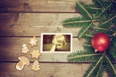 Foto d'annata dei simboli di Natale Fotografia Stock