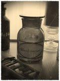 Foto d'annata della bottiglia di cloroformio fotografia stock