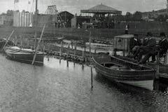 Foto d'annata 1903 delle rotonde sul terreno comunale di Llangorse, Galles immagine stock libera da diritti