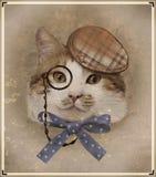 Foto d'annata di stile del gatto vestito Immagine Stock Libera da Diritti