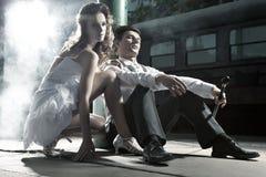 Foto da bela arte de pares do casamento imagem de stock