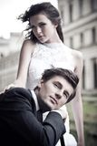 Foto da bela arte de um casamento atrativo Imagens de Stock Royalty Free