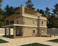 A foto da casa realística rende a ilustração 3D Imagem de Stock
