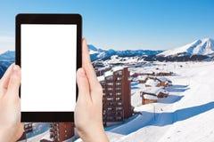 Foto da cidade de Avoriaz nos cumes, França Imagens de Stock