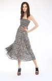 Foto da forma - menina encantadora no vestido cinzento - pódio Imagens de Stock