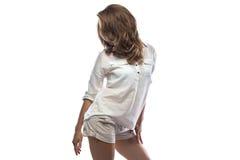 Foto da jovem mulher no short Imagens de Stock