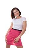 Jovem senhora isolada no fundo branco Fotos de Stock Royalty Free