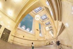 Foto da lente de Fisheye do interior terminal de Grand Central Fotografia de Stock