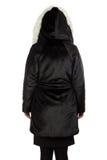 Foto da mulher no casaco de pele da parte traseira Foto de Stock