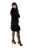 Foto da mulher no revestimento da pele, braços cruzados Foto de Stock Royalty Free