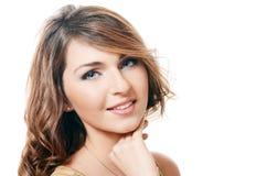 Foto da mulher sensual bonita com o hair.isolated longo no fundo branco Imagens de Stock