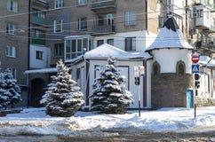 Foto da natureza do inverno das nevadas fortes fotos de stock royalty free