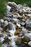 Foto da natureza - o rio da montanha da água de mola disparou com exposição longa e o Stony Creek bonito em Cáucaso norte fotos de stock royalty free