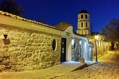 Foto da noite da igreja de St Constantim e St Helena e cidade velha na cidade de Plovdiv, Bulgária Imagem de Stock Royalty Free