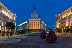 Foto da noite das construções da presidência, das construções do Conselho de Ministros e do Pa anterior do comunista Foto de Stock