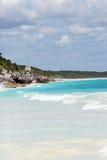 Foto da praia de Tulum México Fotos de Stock Royalty Free