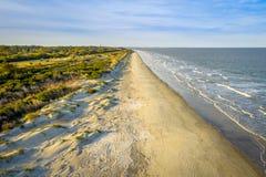 Foto da vista aérea da praia da ilha de Jekyll imagens de stock