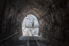 Veja do túnel de estrada de ferro de trabalho Fotos de Stock Royalty Free