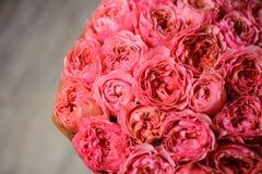 A foto da vista superior do ramalhete da peônia cor-de-rosa brilhante aumentou Foto de Stock
