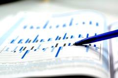 Foto, das Finanz- und auf lagerdiagramm zeigt Lizenzfreie Stockbilder