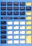 Foto de chaves azuis, brancas, e amarelas da calculadora Foto de Stock