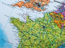 Foto de cidades europeias em um mapa Fotografia de Stock