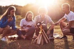 A foto de colegas ou de marshmallows felizes do assado dos amigos sobre a fogueira, senta-se na terra, tem o piquenique junto dur Imagens de Stock Royalty Free