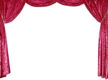 A foto de cortinas espertas de um veludo vermelho do cetim Imagens de Stock