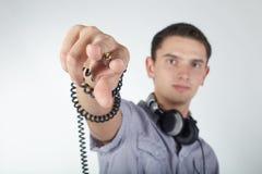 Foto de DJ con los auriculares Imagen de archivo