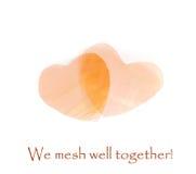 Foto de dois corações de cobre da malha O dia de Valentim feliz! Imagens de Stock