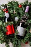 Foto de dos botellas de la Navidad con la tarjeta de felicitación limpia en ramas spruce Fotografía de archivo libre de regalías