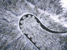 Foto de Drons - camino del invierno fotografía de archivo libre de regalías