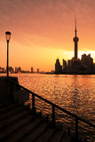 Foto de edificios modernos en el horizonte de Pudong Lujiazui del amanecer Imagenes de archivo