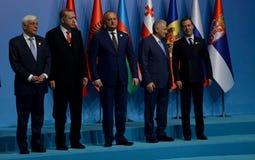 Foto de familia de los participantes en la 25ta cumbre del aniversario de la cooperación económica BSEC del Mar Negro Imágenes de archivo libres de regalías