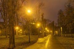 Foto de HDR del parque de la ciudad de Olomouc en invierno sin nieve en la noche, República Checa Foto de archivo libre de regalías